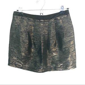 Sugarlips Pleated Gold & Black Mini Skirt